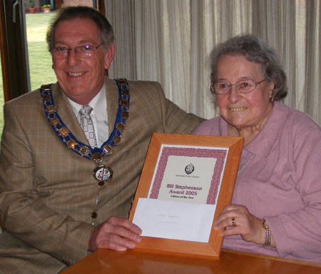 Joyce Herbert right, with Councillor David Linney