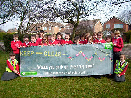 Zig Zag Banner at Greens Norton Primary School
