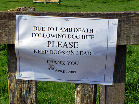 Notice affixed to a stile on the Abthorpe to Slapton public footpath